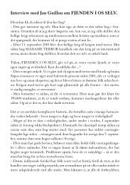 Læs interview med Jan Guillou om FJENDEN I OS SELV - Modtryk