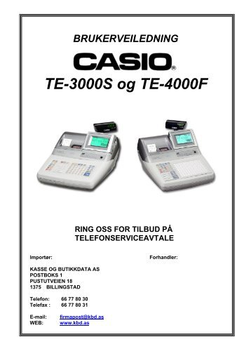 casio te-3000s / te-4000f - Kasse og Butikkdata AS