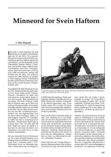 Av Olav Hogstad - Norsk Ornitologisk Forening