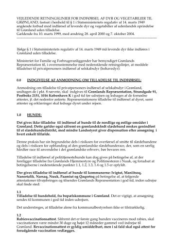 Vejledende retningslinier for indførsel af dyr og vegetabiier til ...