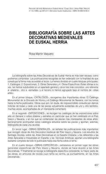 Bibliografía sobre las artes decorativas medievales de Euskal Herria ...