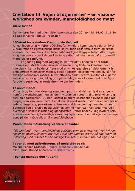 Invitation til 'Vejen til stjernerne' – en visions- workshop ... - Hennah.dk