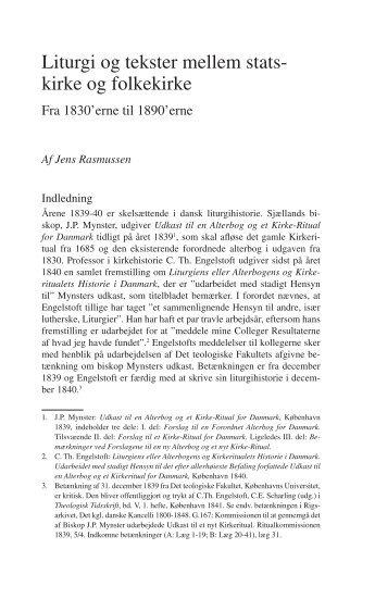 Liturgi og tekster mellem statskirke og folkekirke. Kirkehistoriske ...