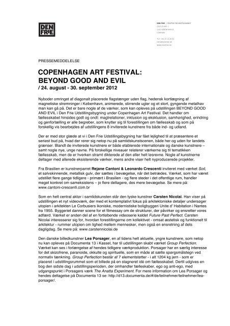 COPENHAGEN ART FESTIVAL: BEYOND GOOD AND EVIL - Den Frie