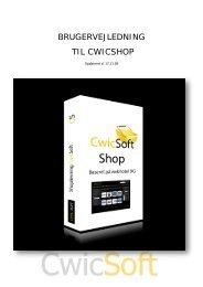 BRUGERVEJLEDNING TIL CWICSHOP - C-Soft