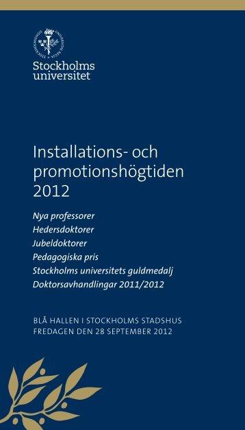 Installationsskrift 2012 - Stockholms universitet
