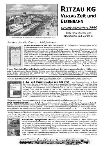 Gesamtverzeichnis Zeit und Eisenbahn 1992 - Ritzau KG