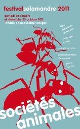 Sociétés animales, Programme du Festival de La Salamandre 2011