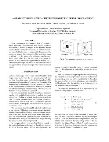 A Gradient Based Approach for Stereoscopic Error ... - TU Berlin