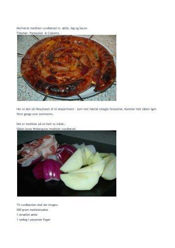 Marineret medister-rundkørsel m. æble, løg og bacon Tilbehør ...