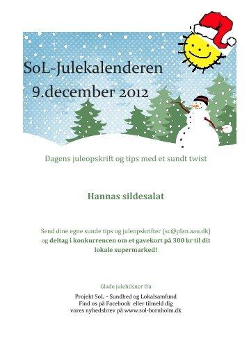 SoL-Julekalenderen 9.december 2012 - Sundhed og Lokalsamfund ...