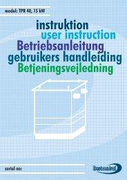instruktion user instruction Betriebsanleitung gebruikers handleiding