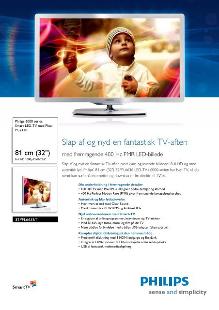 32PFL6636T/12 Philips Smart LED-TV med Pixel Plus HD