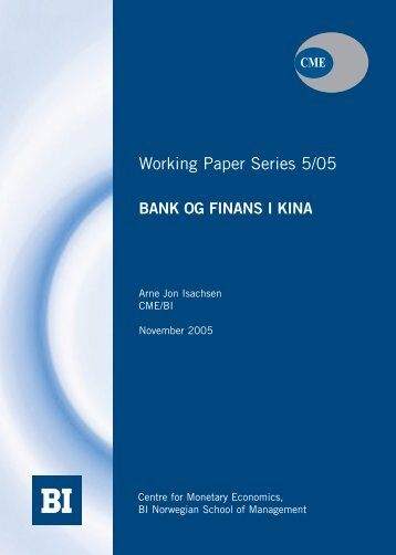 Bank og finans i Kina - BI Norwegian Business School