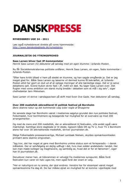Nyhedsbrevet Dansk Presse nr. 24 - Danske Dagblades Forening