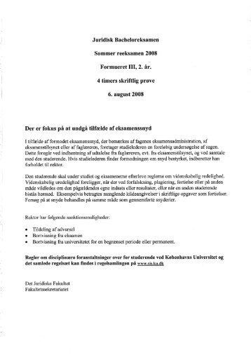 Formueret III, 2. år. 4 timers skriftlig prøve 6. august 2008