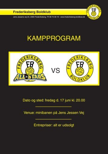 Kampprogram vs - Frederiksberg Boldklub
