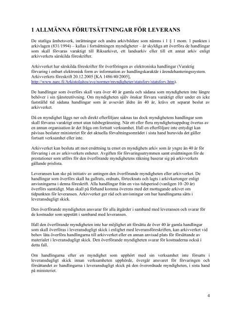 FÖRESKRIFT Leverans av handlingar till arkivverket - Arkistolaitos