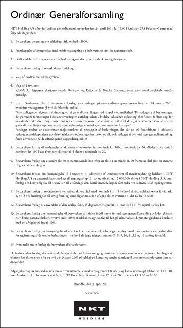 Ordinær Generalforsamling - NKT