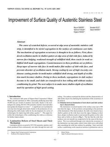 Improvement of Surface Quality of Austenitic Stainless Steel
