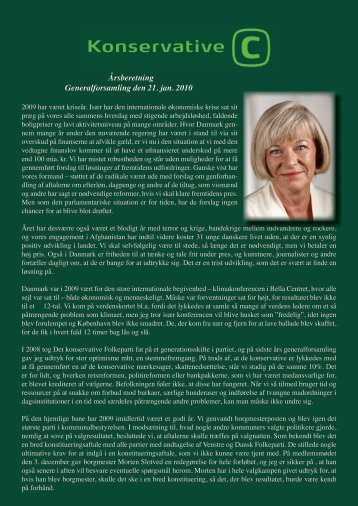 Årsberetning Generalforsamling den 21. jan. 2010 - Konservative ...