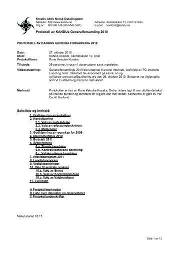 Generalforsamlinga 2010 - Referat - Kandu