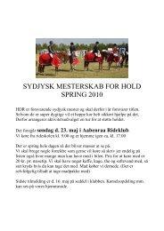 sydjysk mesterskab for hold spring 2010 - Hedensted og Omegns ...