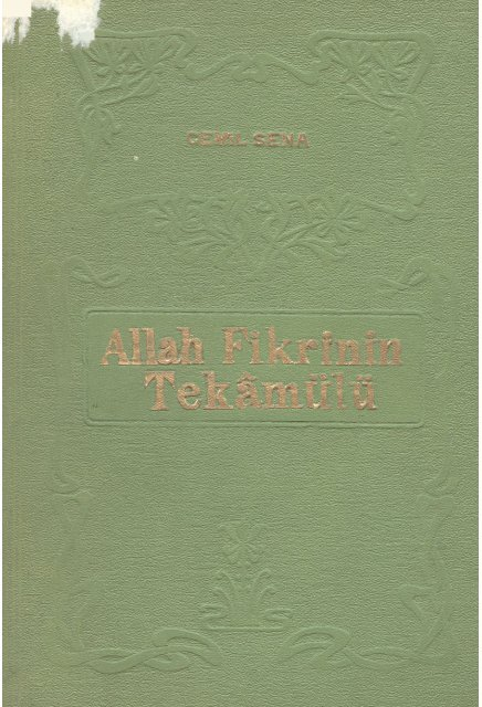 Cemil Sena – Allah Fikrinin Tekamülü - Turan Dursun Kütüphanesi