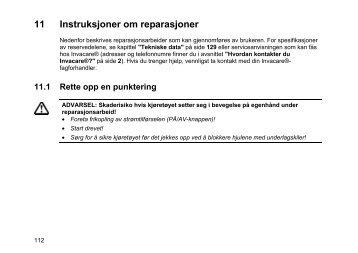 11 Instruksjoner om reparasjoner - Invacare
