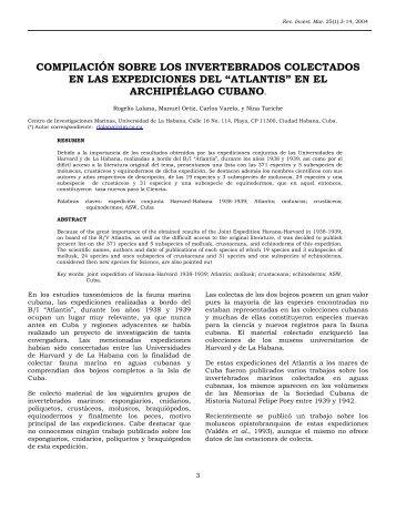 compilación sobre los invertebrados colectados en las expediciones ...