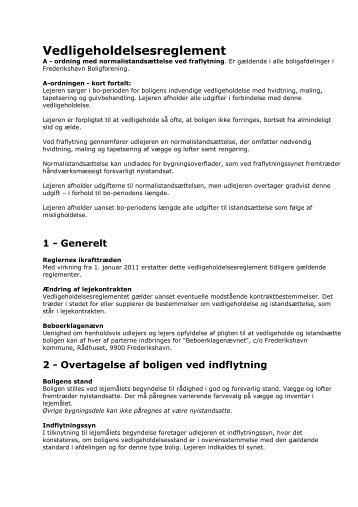 Vedligeholdelsesreglement - Frederikshavn Boligforening