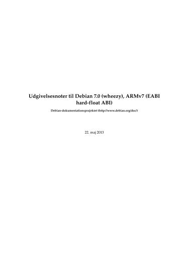Udgivelsesnoter til Debian 7.0 (wheezy), ARMv7 (EABI hard-float ABI)