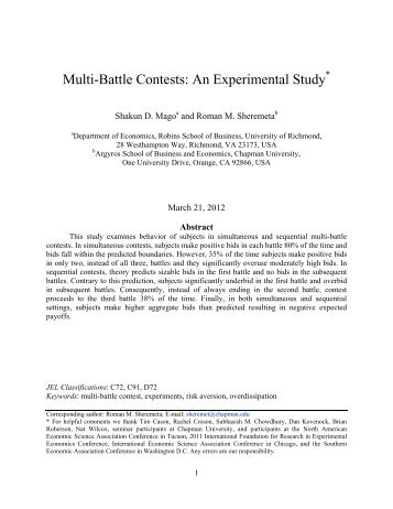 Multi-Battle Contests: An Experimental Study - Chapman University