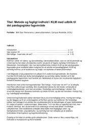 Metode og fagligt indhold i KLM med udblik til det ... - LURF