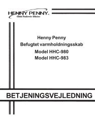 BETJENINGSVEJLEDNING - Henny Penny Corporation