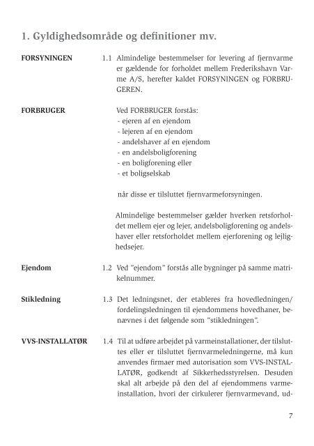 Almindelige bestemmelser for levering af fjernvarme - Frederikshavn ...