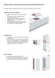 Særlige regler for placering og montering af/mål på hårde hvidevarer