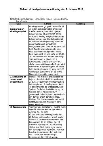 Referat fra bestyrelsesmødet 07. febr. 2012