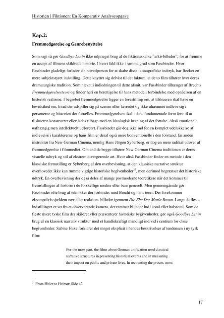 Historien i Fiktionen: En Komparativ Analyseopgave 1 Indledning
