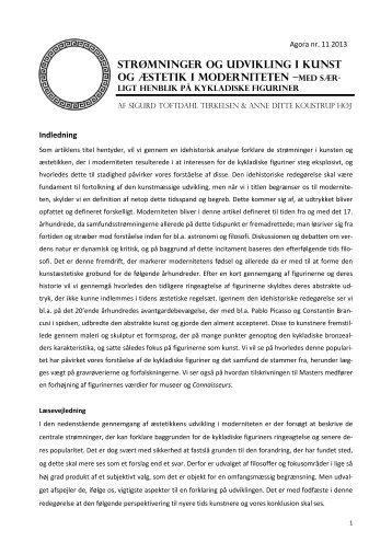 Strømninger og udvikling i kunst og æstetik i moderniteten - e-agora