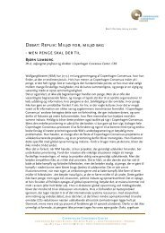 Debat: Replik: Miljø for, miljø bag - Copenhagen Consensus Center