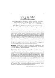 How to do Policy with Dictionaries - Department of Business ...