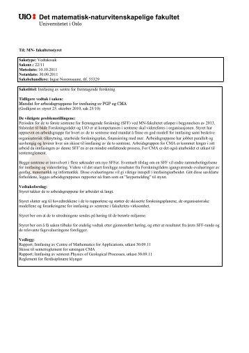 Innfasing av senteret Physics of Geological Processes - Det ...