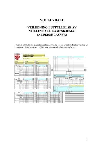 Veiledning i utfyllesle av volleyball kampskjema (aldersklasser)