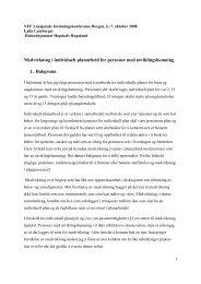 Medvirkning i individuelt planarbeid for personer med ... - Konferanser