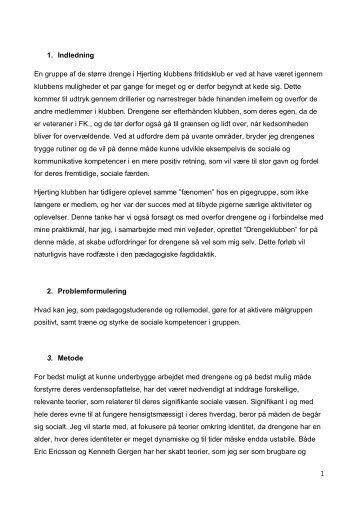 Projektbeskrivelse, konklusion og perspektivering. - hjertingklubben.dk