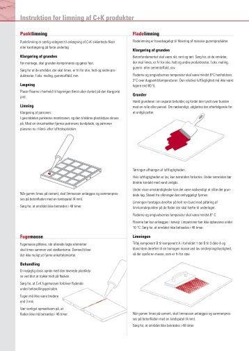 Instruktion for limning af C+K produkter