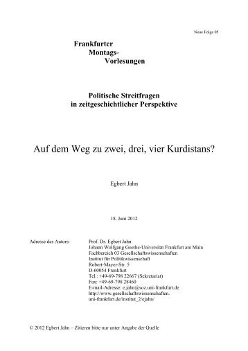 Auf dem Weg zu zwei, drei, vier Kurdistans? - Goethe-Universität