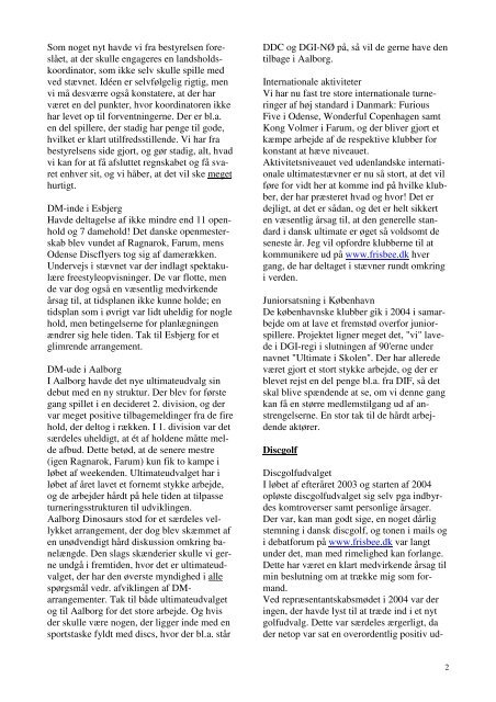 Formandens beretning - Dansk Frisbee Sport Union