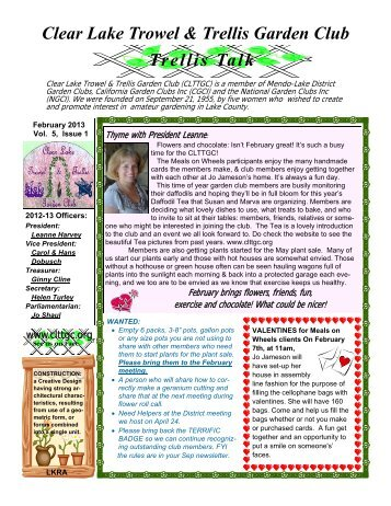 Clear Lake Trowel & Trellis Garden Club February 2013 Newsletter